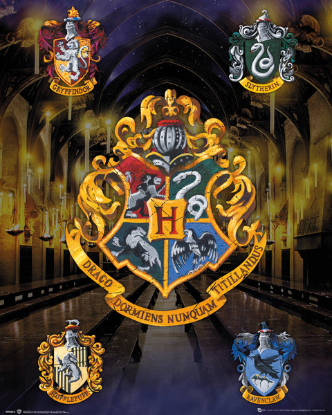 Harry Potter - Mini Poster - Stemmi delle Casate - Prodotto ufficiale © Warner Bros. Entertainment Inc.