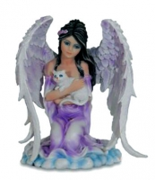 Les Alpes - Guardian Angel - Angelo con Gatto - Dipinto a mano - 044 146