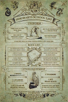 Harry Potter - Poster Lista Scolastica Primo Anno Hogwarts - Prodotto ufficiale © Warner Bros. Entertainment Inc.